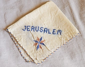 Vintage Handkerchief - Souvenir of Jerusalem, 1930s or 1940s, White with Blue, Hand Stitched