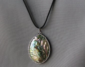 Abalone Necklace, Shell Necklace, Abalone Jewelry, Double sided Necklace
