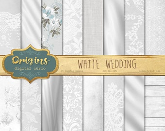 White Wedding digital paper, wedding romantic backgrounds, white wedding bridal patterns, scrapbook paper, invitation paper