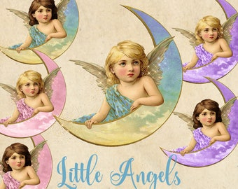 Little Angels Clipart, pink blue and purple vintage baby angel illustration, fairy PNG digital angel wings instant download commercial use