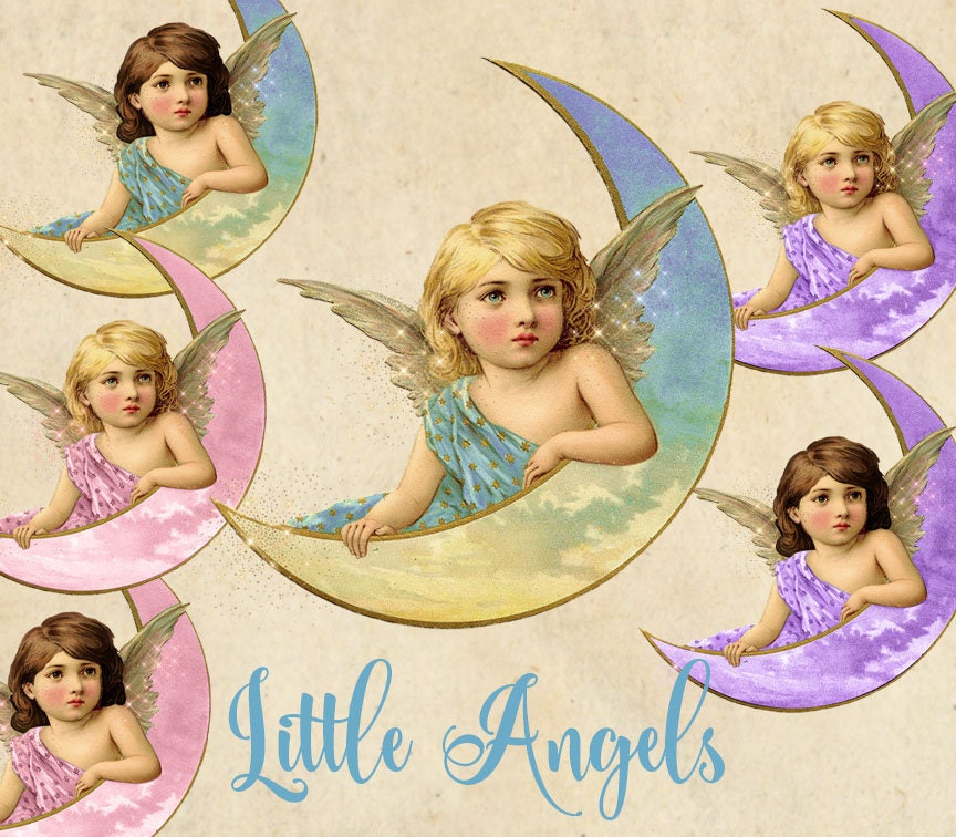 Little Angels Clipart, pink blue and purple vintage baby angel ...