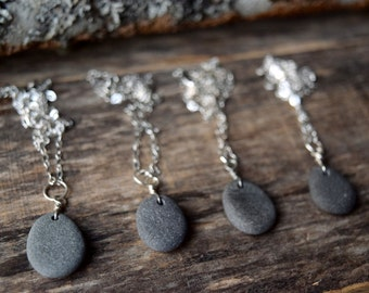 Beach Rock Necklace Beach Stone Necklace Beach Stone Jewelry Maine in Maine