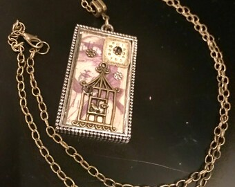 Collage steampunk clock birdcage long necklace handmade / handcrafted vintage look
