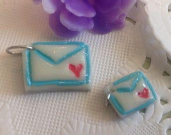 Handmade-Cold Porcelain-Tiny White Envelope Charm-Jewelry-Bracelet