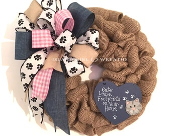 Cat Wreath, Cat  Quotes, Burlap Cat Wreath, Pet Wreath, Cat Burlap Wreath, Cats Leave Footprints On Your Heart