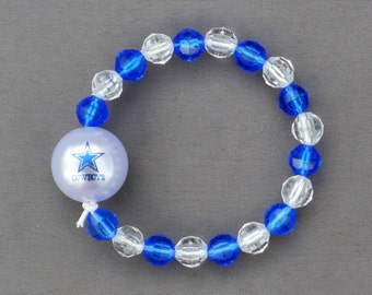 Dallas Football Stretch Bracelet - 8mm Acrylic Beads with 20mm Bead