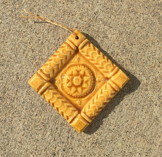 Ceramic Holiday Ornament -- Beautiful 2x2 Hand Made Ceramic Tile Ornament in Amber Glaze