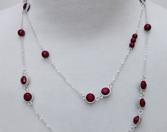 Silver Chain Necklace With Red Beads / Statement Necklace / Long Necklace.