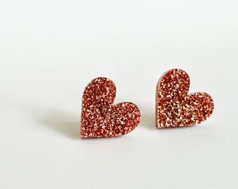 Glitter pink little hearts earrings