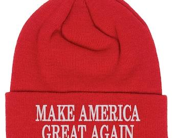 make america great again hat beanie, make america great red beanie, trump beanie