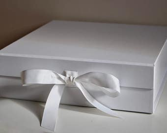 Luxury Large gift box with grosgrain ribbon , perfect wedding, baby keepsake box, ideal presentation, hamper, gift box