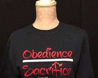 Obedience over Sacrifice tee (Feminine Font)