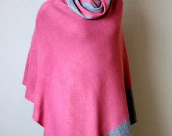 pink with gray poncho, Knit poncho, wool scarf, wool cape, turtleneck poncho ,Chunky poncho, knit cape,hand made poncho,women fashion
