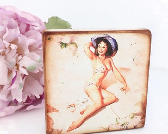 Vintage Pin Up Standing Plaque...