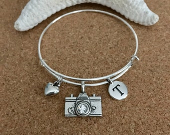PHOTOGRAPHY Charm Bracelet-Silver-Plated Bangle - Camera Charm w/ crystal, Antique Silver Heart, Camera Charm, Initial Charm, Digital Camera