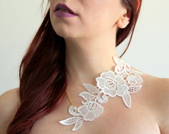 White lace necklace. Choose your colour!Statement necklace, italian lace, venice black lace, goth jewelry.