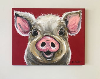 Pig Painting. Original pig painting, Pig art, acrylics on stretched canvas. Pig Art with Red background