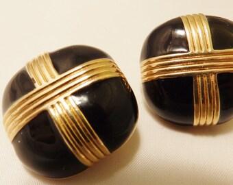 Vintage Gold Tone Black Enamel Clip On Earrings