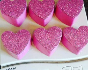 Sensual Amber  organic raw mango butter organic handmade soap set over 1 lb Beautiful pink Sparkly Heart shaped lot