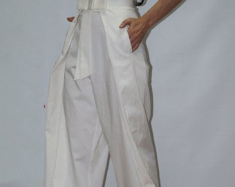 Wide Leg Pants/Casual Cotton Pants/Loose Cotton Pants/High Waist Pants/White Pants/Fashion Pants/F1236