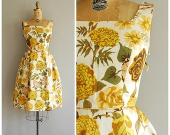 Hidden Garden dress • 1950s silk party dress