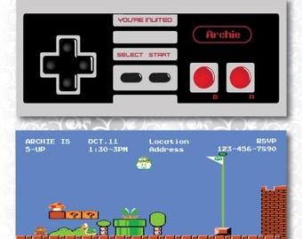 Nintendo Birthday Invitation     Printable Super Mario Birthday Invite     Personalized Mario Old School Nintendo Controller
