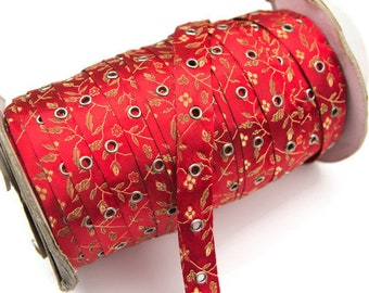 Red Floral Satin Brocade Grommet Tape Trim with Nickel Eyelet by the Yard ATN00350