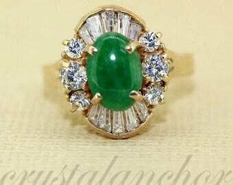 Estate 10k Yellow gold natural Green Jade Jadeite & White Topaz cluster ring 2ct