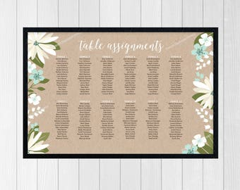 Seating Chart Wedding Reception Seating Chart Sign Table Assignments Sign Guest Seating Rustic Floral Guest Seating Chart Sign or Poster