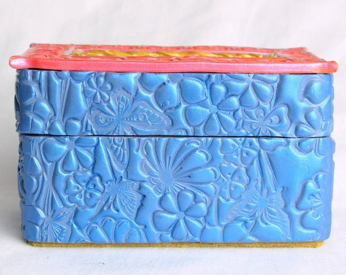 Handcrafted Wooden & Light Blue Polymer Clay Treasure and Gift Box