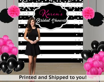 Bridal Shower Personalized Photo Backdrop -Black and White Stripes Photo Backdrop- Milestone Birthday Photo Backdrop - Custom Photo Backdrop