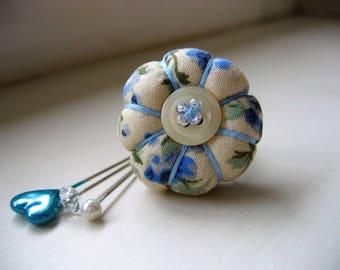 Pin Cushion / Pin Cushion Ring / Floral Pincushion / Retro Pincushion / Vintage Style Pincushion With Button Detail / Blue Pincushion