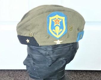 Genuine Soviet Army Officer Uniform Hat Pilotka with 8 Insignias 4 Air Force Shoulder Boards, Garrison Hat Uniform Hat Badge, Size 57 #537c