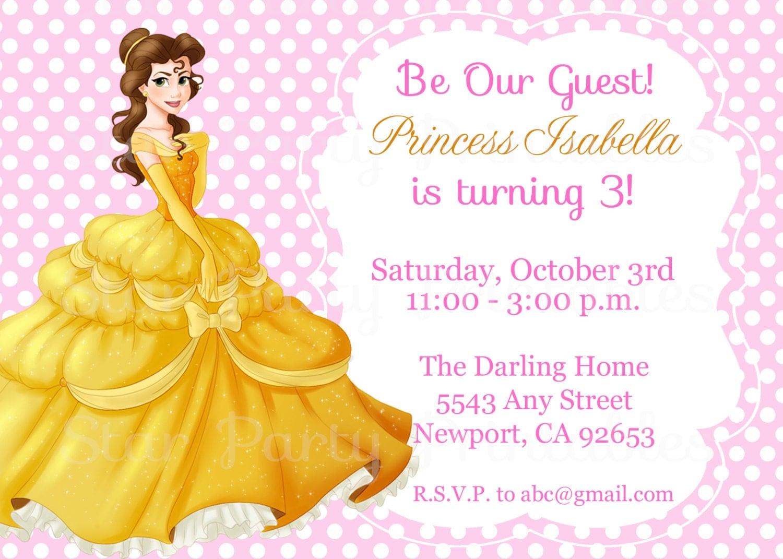 Princess Belle Beauty the Beast Invitation Kids