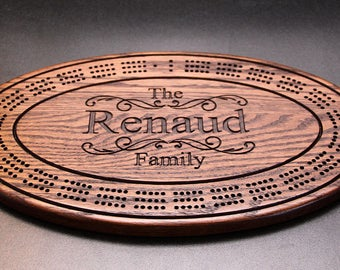 Custom cribbage board personalized with names and or, logo. Made from solid oak wood. Gift for him, gift for her with superior craftsmanship