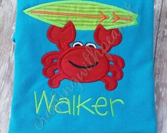 Crab shirt, summer applique, crab applique,  surfer crab, crab, boys summer applique, custom shirt, personalized tee