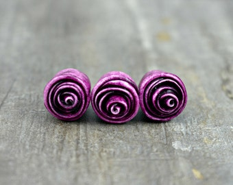 Rose Bead in Plum, polymer clay rose bead