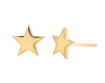 14k gold star earring studs