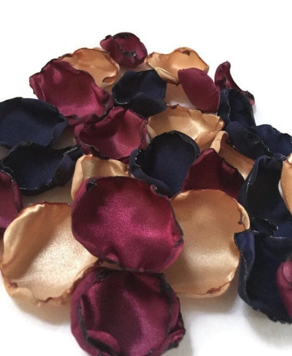 Navy Blue Marsala Maroon And Gold Flower By
