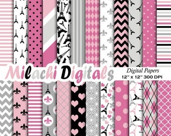 60% OFF SALE Paris digital paper, Eiffel Tower scrapbook papers, French wallpaper, Bonjourn background - M386