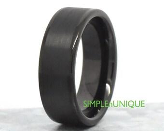 Mens Wedding Band Ring - Unique Black Tungsten Carbide Promise Ring - Minimal Design - Wedding & Engagement - Brushed Center - Comfort Fit