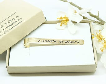 Men's Personalized Tie Clip- Hand Stamped Brass Tie Bar- Groom's gift- Father of the Bride- Wedding Accessories, Groomsman Gift, Anniversary