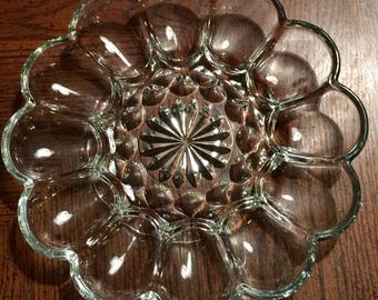 "Fairfield by Anchor Hocking Vintage Clear Glass Deviled Egg Platter 10"" Glass Serving Tray"