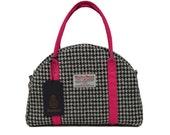 Harris Tweed Black Houndstooth with Lipstick Pink Detail Bowling Style Bag