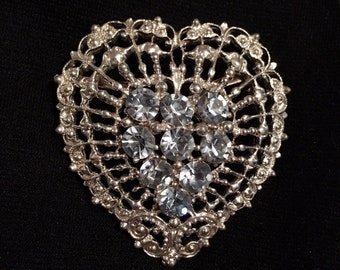 Strauss Rhinestone Heart Brooch / Pin