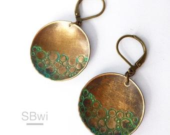 Verdigris earrings in bronze
