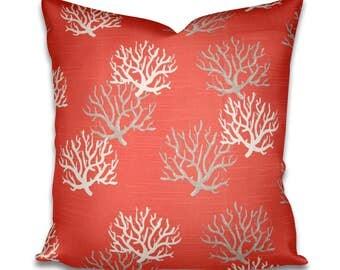 Pillow Cover Premier Prints Isadella Coral Salmon - Coral Pillow - Coral and white pillow