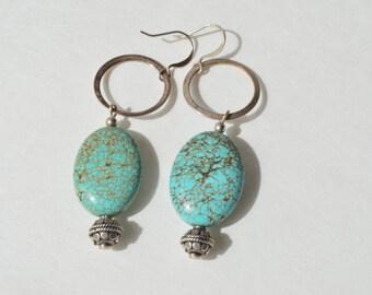 Vintage Sterling Silver Natural Turquoise Bead Dangle Hook Earrings 16.2 Grams