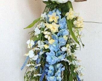 Blue Spring Door Swag, Summer Door Wreath, Teardrop Storm Door Orchids Peony Delphiniums Wreath Ready to Ship