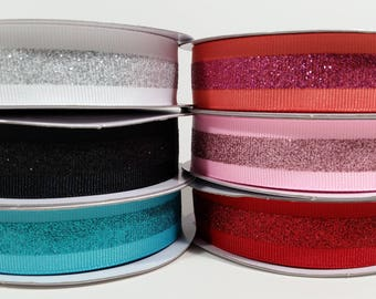 "7/8"" Grosgrain Glitter Stripe Ribbon - 10 Yards"